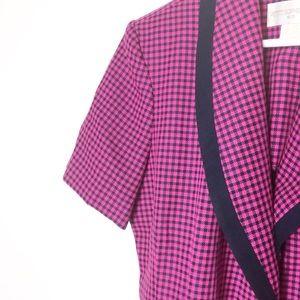 Vintage Dresses - Petite Sophisticate & Co. Pink Black Plaid Dress